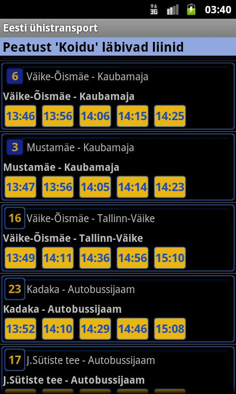 Eesti ühistransport - screenshot