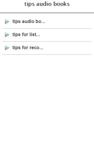 tips audio books
