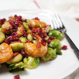 Brussels sprouts and Pomegranate Salad with Prawns.