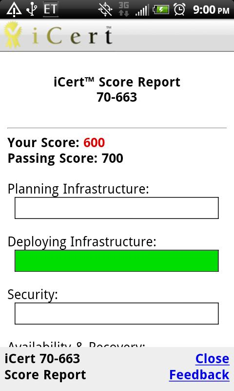 iCert 70-663 Practice Exam- screenshot