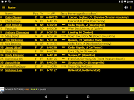 Screenshot of Hawkeye Basketball Schedule