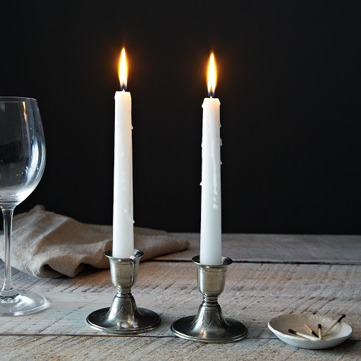Short Pewter Candlestick, Pair