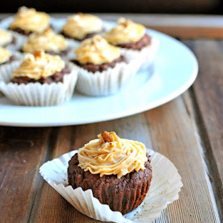 Dark Chocolate Cupcakes with Peanut Butter Cream Cheese Frosting {Super Foods at Every Meal Book Review!}.