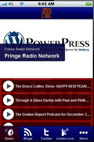 Fringe Radio Network- screenshot