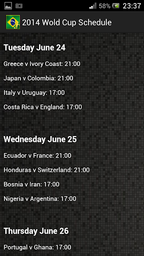 【免費運動App】2014 World Cup Schedule FULL-APP點子