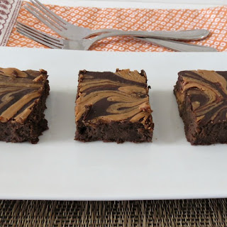 Chocolate Brownies with Peanut Butter Swirl.
