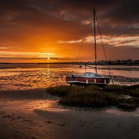 Washed up boat mudeford  by Mark Usher - Landscapes Sunsets & Sunrises ( clouds, sunset, mudeford.dorset, boat, sun )