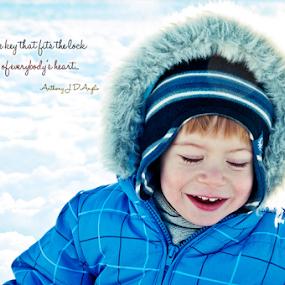 Just Smile by Luana Racan - Typography Quotes & Sentences ( smile child blue snow orange hair )