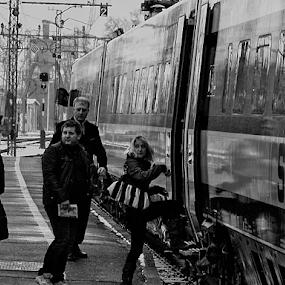 last directives by Renato Dibelčar - Black & White Portraits & People ( passenger, canon, railway, trainroad, directives, slovenia, pragersko, rail, train, traveler )