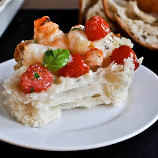 Broiled Shrimp with Tomatoes, Basil and Brie.