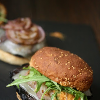 Grilled Portobello Mushroom Burgers with Romesco, Manchego and Arugula