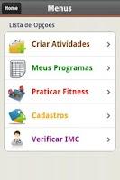 Screenshot of E-Fitness com Cálculo de IMC