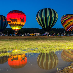 Reflection Poteau Balloonfest by Eva Ryan - Transportation Other ( water, hot air balloon, reflection, event, festival, balloon,  )
