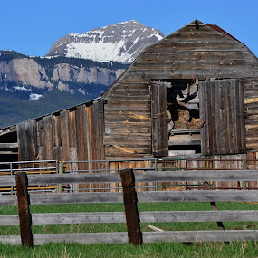 Wilderness barn by Don Evjen - Buildings & Architecture Decaying & Abandoned ( mountains, corrals, barn, montana, snow )