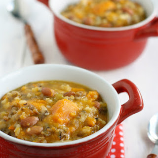 Slow Cooker Sweet Potato Wild Rice Soup.