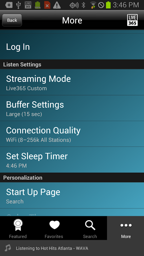 Live365 Radio - screenshot