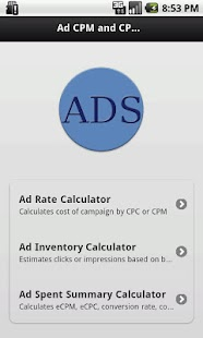 Ads CPM and CPC Calculator - screenshot thumbnail
