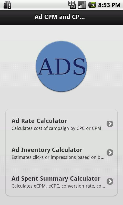 Ads CPM and CPC Calculator - screenshot