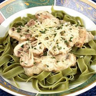 Salmon With Green Fettuccine.