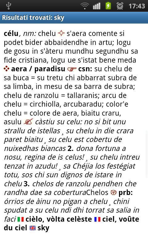 Sardinian dictionary- screenshot