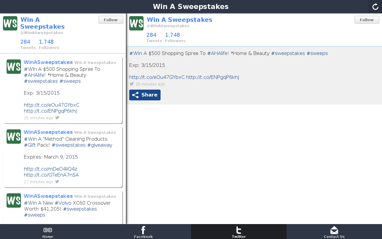 Win A Sweepstakes- screenshot