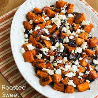 Roasted Sweet Potatoes and Red Onions with Feta.