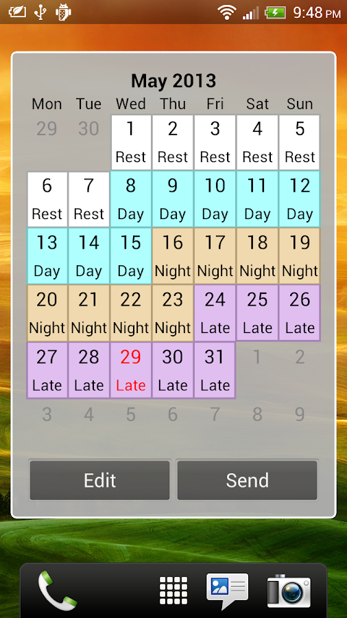 Shift Calendar (since 2013)- screenshot