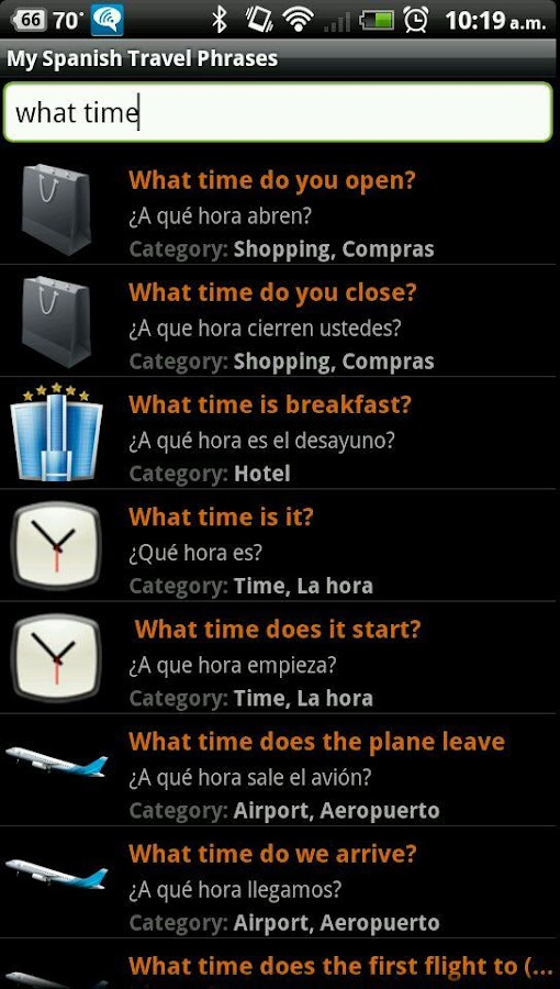 My Spanish Travel Phrases Free - screenshot