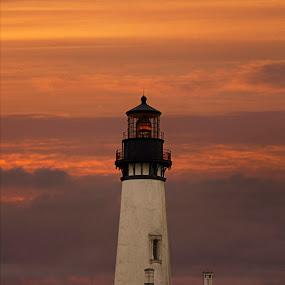 Yaquina Head Lighthouse by Amy Woldrich - Landscapes Sunsets & Sunrises ( yaquina, orange, oregon, yaquina head, sunset, lighthouse, west coast, newport, favorite, landscape, coast,  )