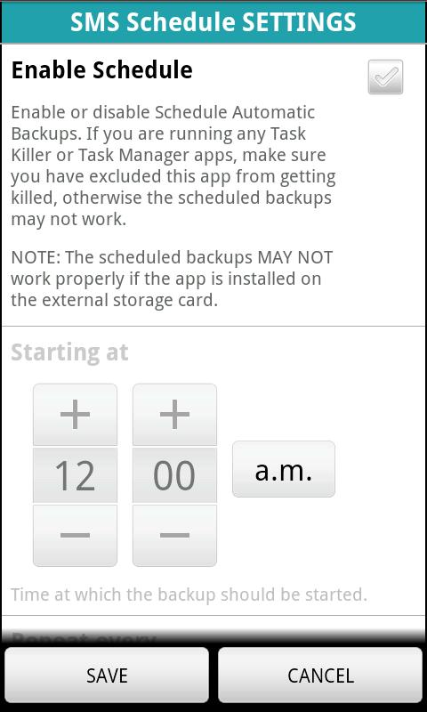 SMS BACKUP n2manager - screenshot