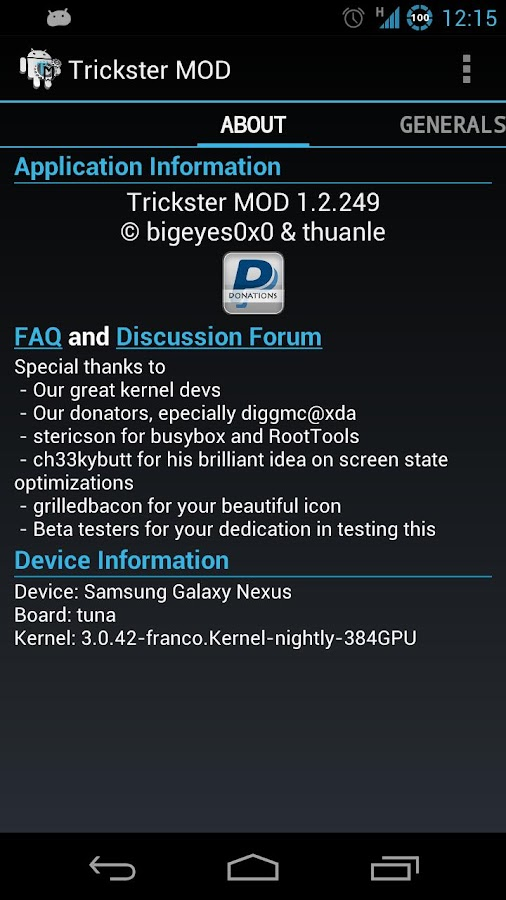 Trickster MOD Kernel Settings - screenshot