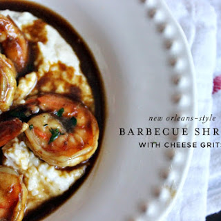 NOLA-style Barbecued Shrimp with Cheese Grits.