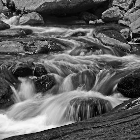 Broad River by Jonathan Wheeler - Black & White Landscapes ( water, waterfalls, broad river, cascades, motion )