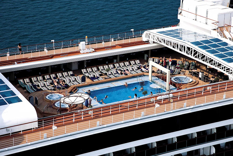 The Lido pool deck on Holland America's Eurodam. Explore the ship and start finding your way around the different decks before it gets busy.