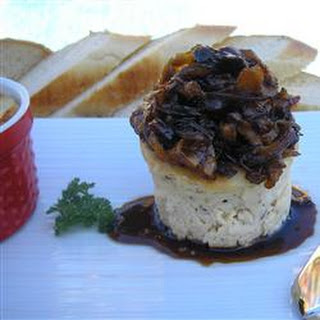 Savory Blue Cheese Cheesecake with Cherry Pear Compote and Cherry Balsamic Glaze.
