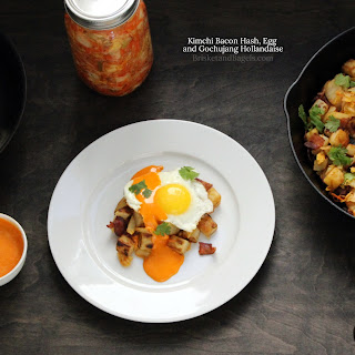 KIMCHI BACON HASH, EGG AND GOCHUJANG HOLLANDAISE.