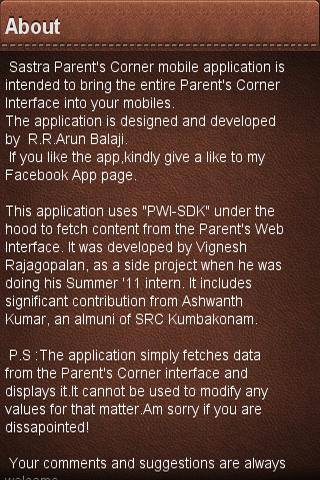 SASTRA Parent's Corner - screenshot
