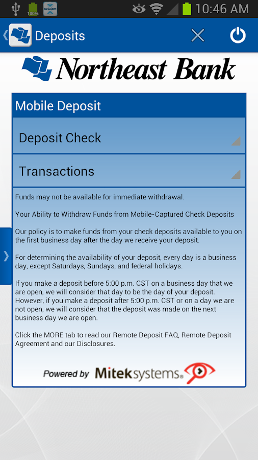 Northeast Bank Mobile Banking - screenshot