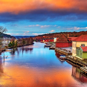 Halden - Norway by Johannes Mikkelsen - Buildings & Architecture Other Exteriors ( water, photomatix, hdr, waterscape, art, reflections, cityscape, landscape, norway, halden, d800, artistic, norge, nikon, photoshop, , colorful, mood factory, vibrant, happiness, January, moods, emotions, inspiration, relax, tranquil, relaxing, tranquility )