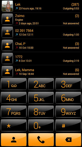 Dialer theme G Black Orange