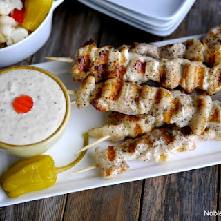 Grilled Buttery Chicken Skewers with Crazy Sauce.