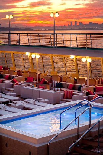 Spa-Fitness-Jacuzzi-on-Crystal-Symphony - Be one with nature: The Fitness Jacuzzi on the Crystal Symphony is the perfect place to relax and watch the sunset.
