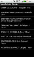 Screenshot of Louisville Snow Closings