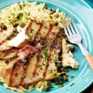 Grilled Tilapia with Lemon Butter, Capers and Orzo Recipe