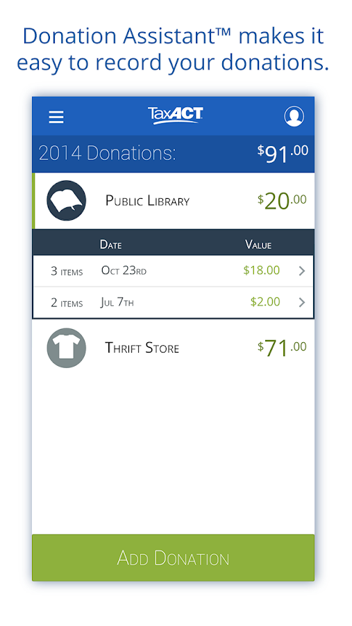 Donation Assistant by TaxACT- screenshot