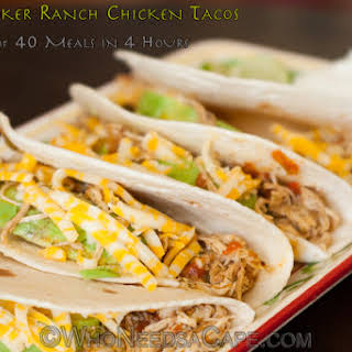 Slow Cooker Ranch Chicken Tacos.
