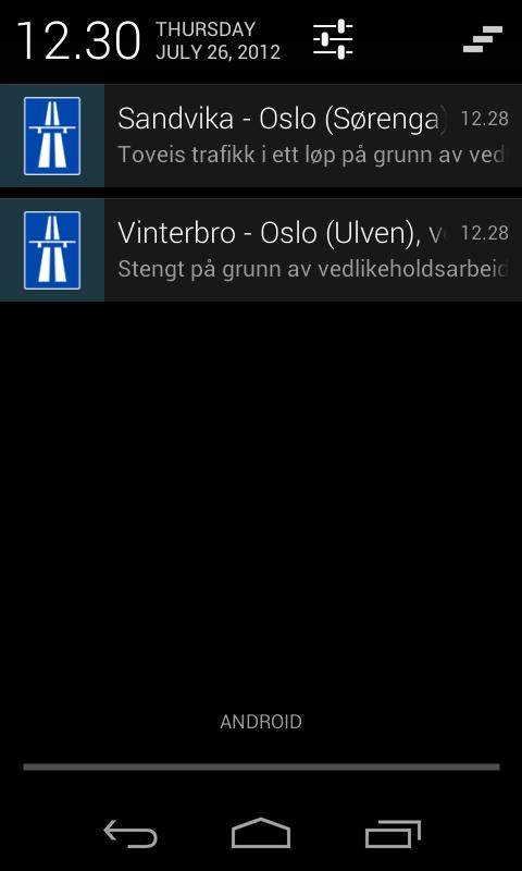 Traffic in Norway- screenshot