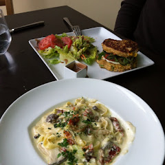 Fettuccini and veggie burger