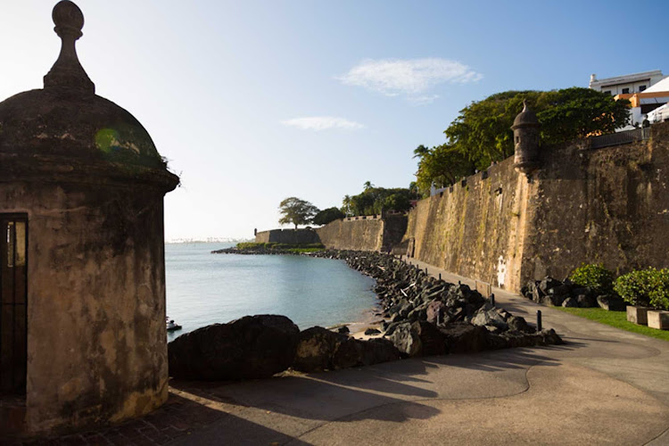 Historic San Cristobal Fort sits on a promontory. It once guarded San Juan, Puerto Rico.