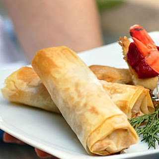 Cheese, Herb, and Sun-Dried Tomato Phyllo Rolls.